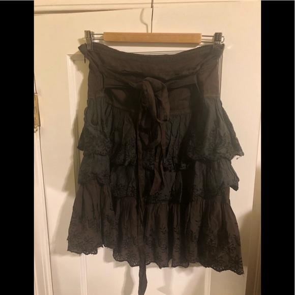 Zara Brown Tiered Ruffle Skirt